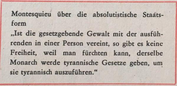 Montesquieu über die absolutistische Staatsform