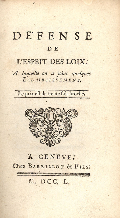 Montesquieu- Défense de l_Esprit des lois, 1750