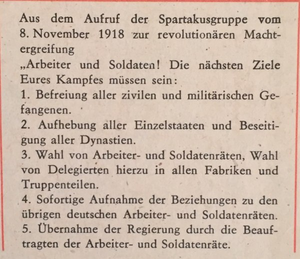 aufruf spartakusgruppe 8.11.1918