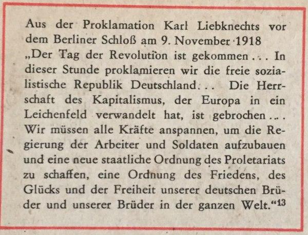 aus proklamation karl liebknecht 9.11.1918