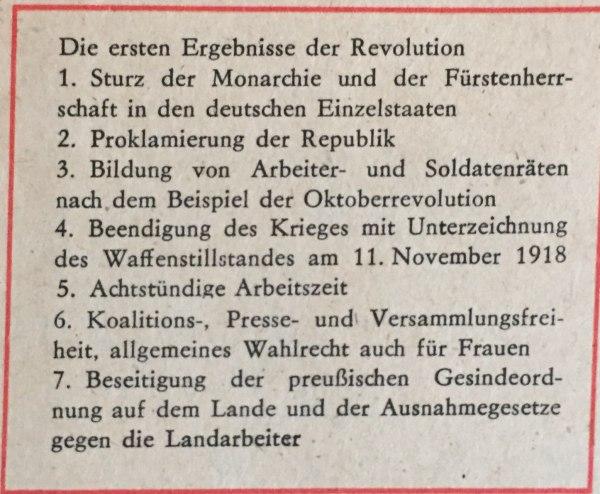erste ergebnisse der revolution deutschland 1918