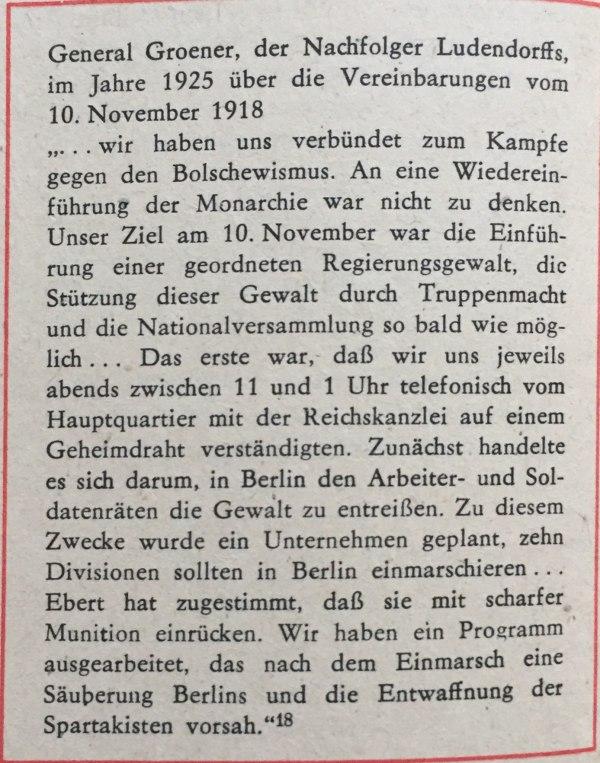 general groener über vereinbarung 10.11.1918