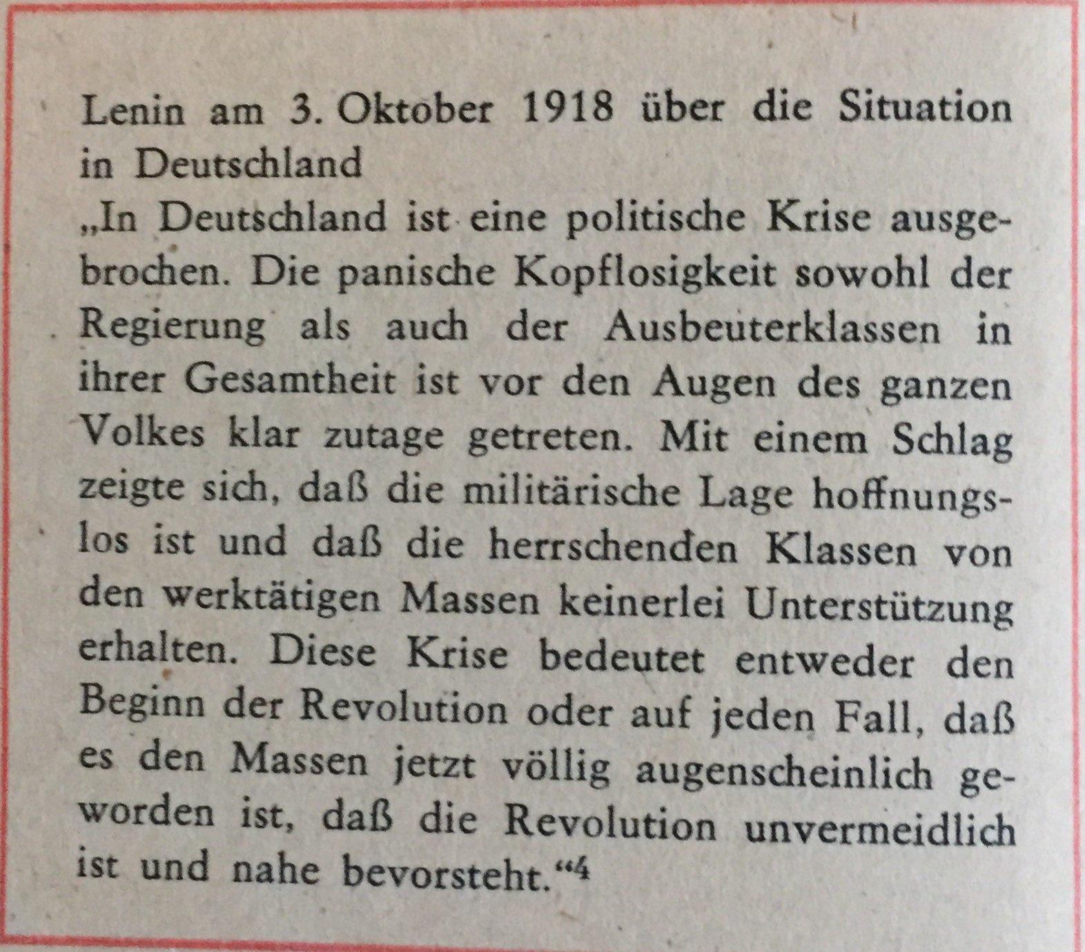 Das Heranreifen der Revolution in Deutschland 1917/1918