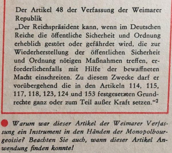Artikel 48 Verfassung Weimarer Republik
