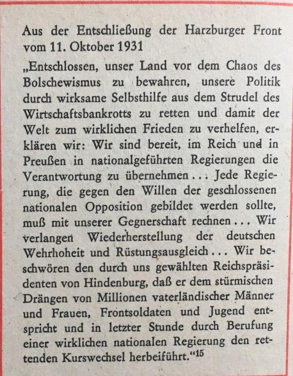 Entschließung Harzburger Front 1931