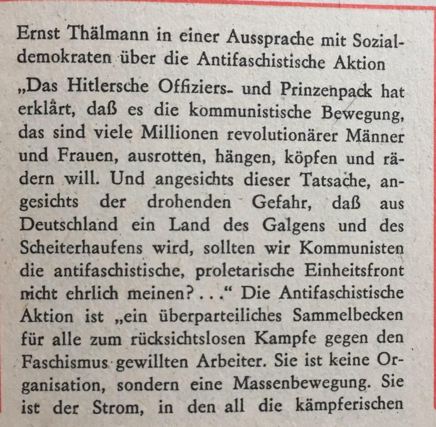 Ernst Thälmann antifaschistische Aktion 1
