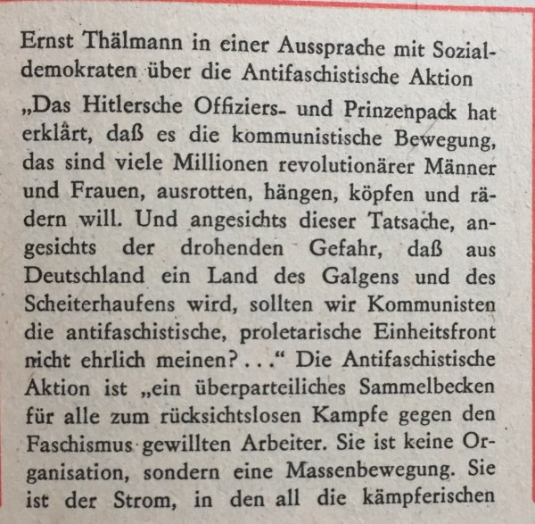 Ernst Thälmann antifaschistische Aktion 1