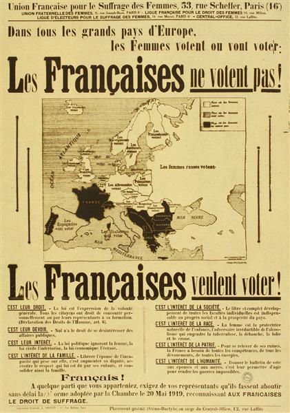 Französisches Plakat für das Frauenwahlrecht (1934)