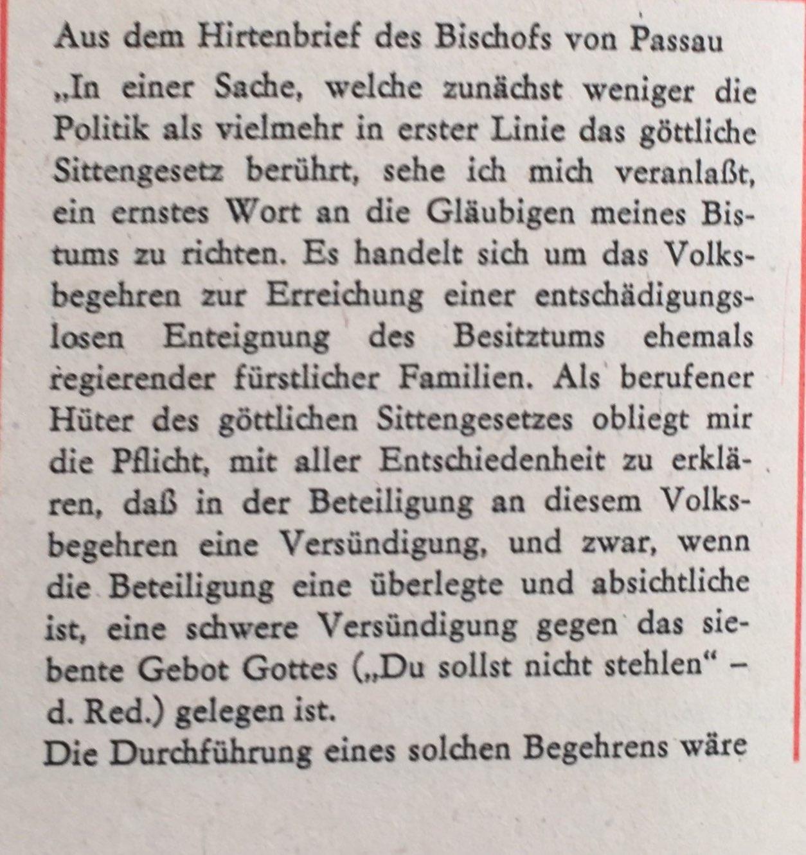 Hirtenbrief Bischof von Passau 1