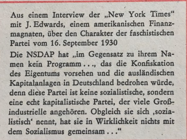 Interview New York Times zu NSDAP 1930