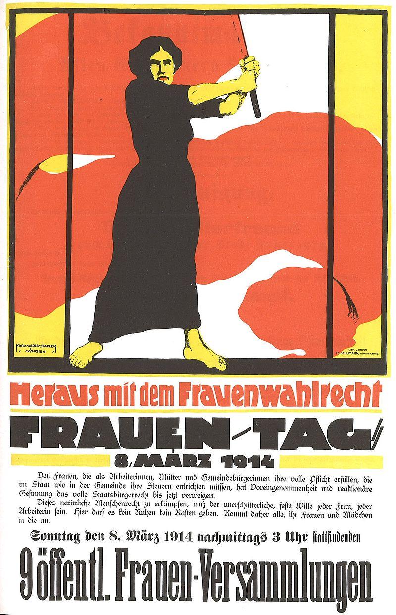 """Plakat der Frauenbewegung zum Frauentag 8. März 1914- """"Heraus mit dem Frauenwahlrecht"""""""