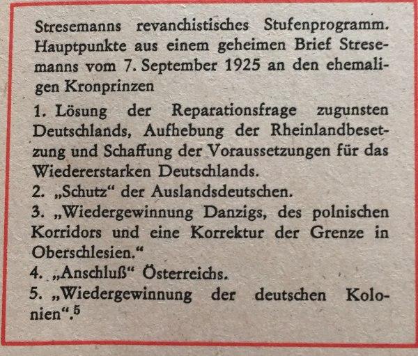 Stresemanns Programm