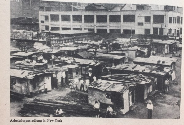 Arbeitslosensiedlung New York 1920er Jahre