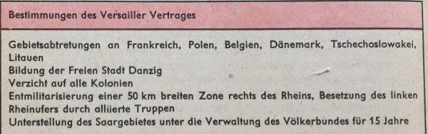 Bestimmungen Versailler Vertrag 1919