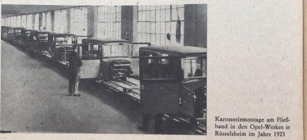 Fließbandarbeit Opelwerke 1923