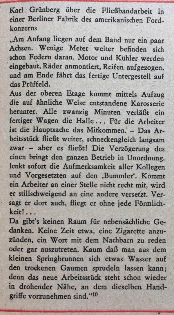 Grünberg über Fließbandarbeit