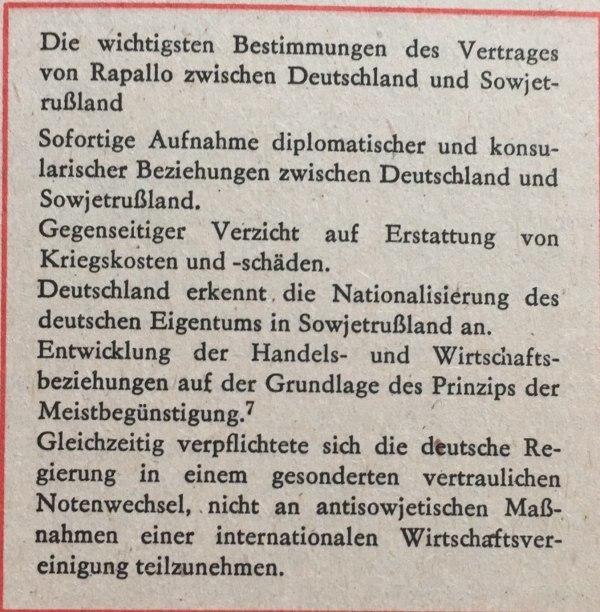 Wichtigste Bestimmungen Rapallo-Vertrag