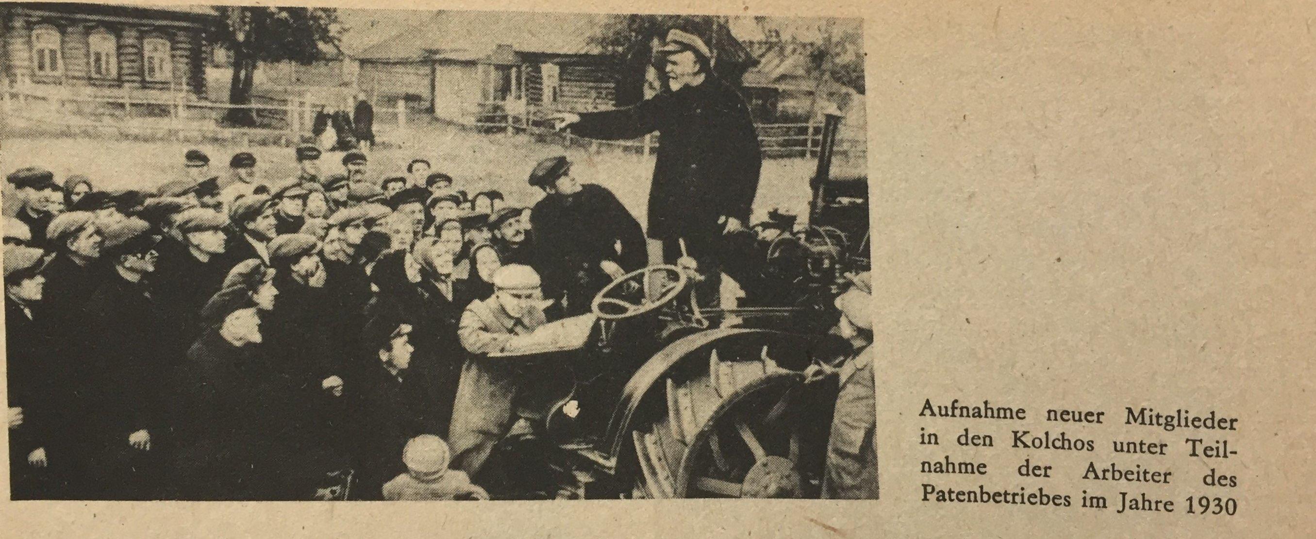 Aufnahme neuer Mitglieder in Kolchos 1930