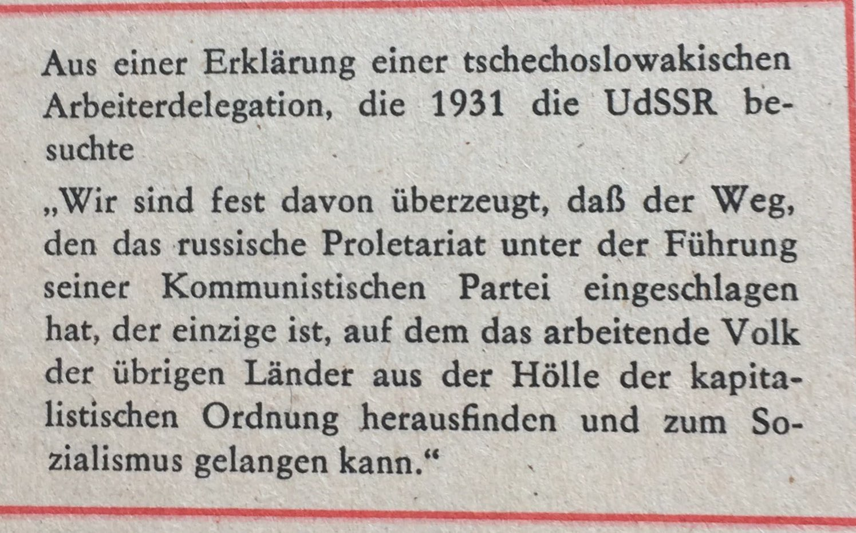 Aus Erklärung tschechoslowakische Arbeiterdelegation