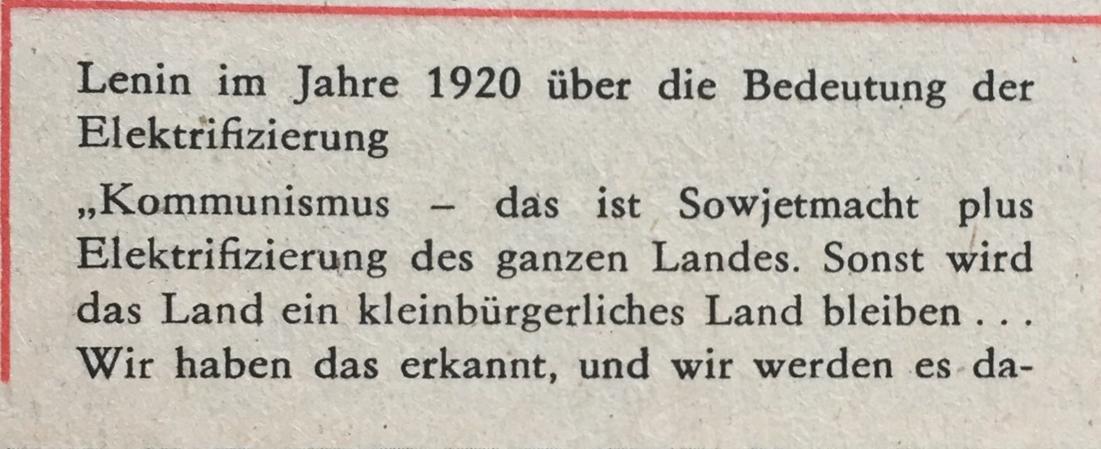 Lenin zu Elektrifizierung 1920