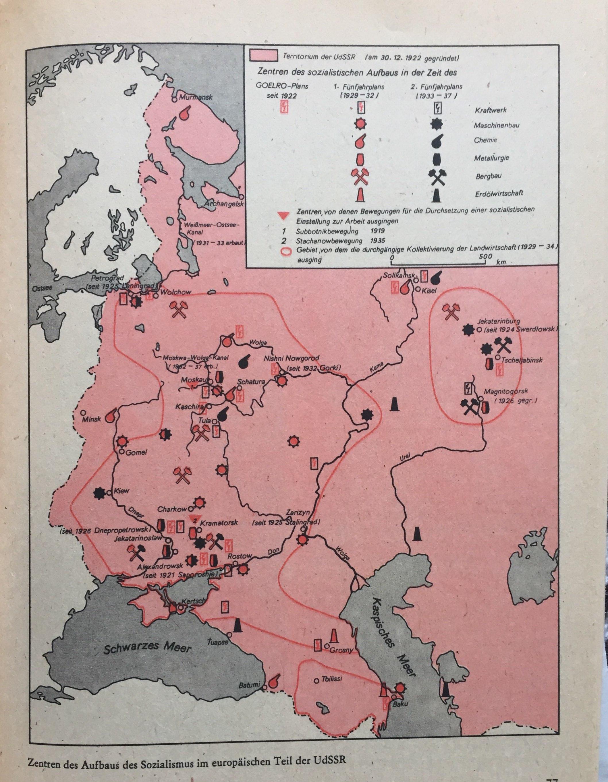 Zentren Aufbau Sozialismus europäischer Teil UdSSR