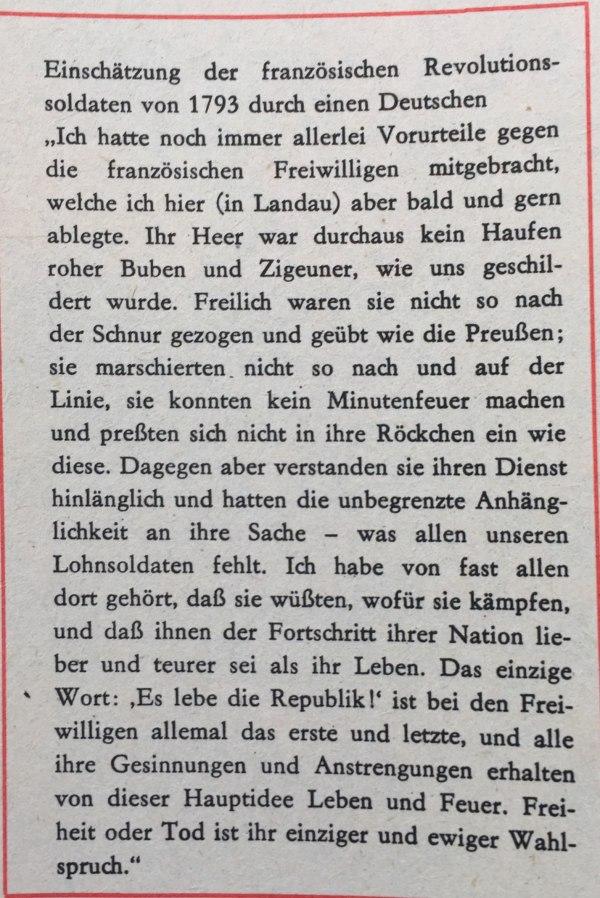 Einschätzung französischer Revolutionssoldaten durch Deutschen