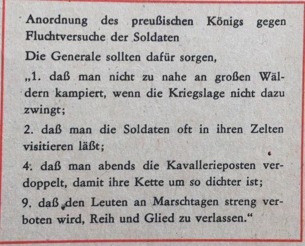 Anordnung des preußischen Königs gegen Fluchtversuche von Soldaten