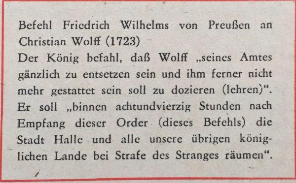 Befehl Friedrich Wilhelms von Preußen an Christian Wolff(1723)