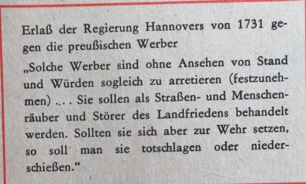 Erlass der Regierung Hannovers