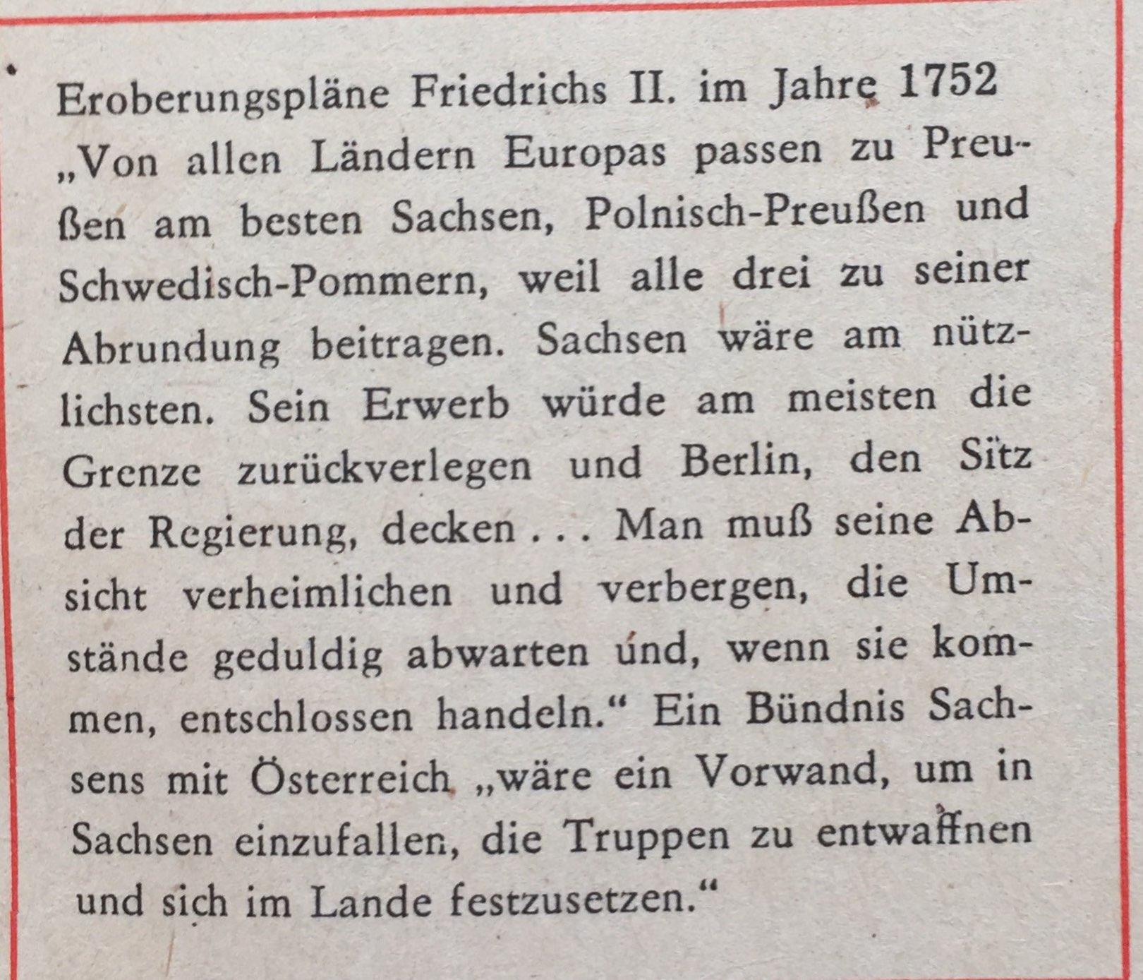 Eroberungspläne FriedrichsII. 1752