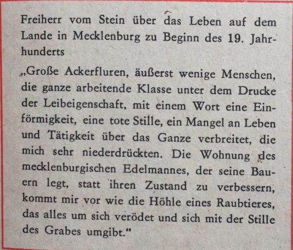 Freiherr vom Stein über Leben auf dem Lande in Mecklenburg zu Beginn des 19. Jahrhunderts