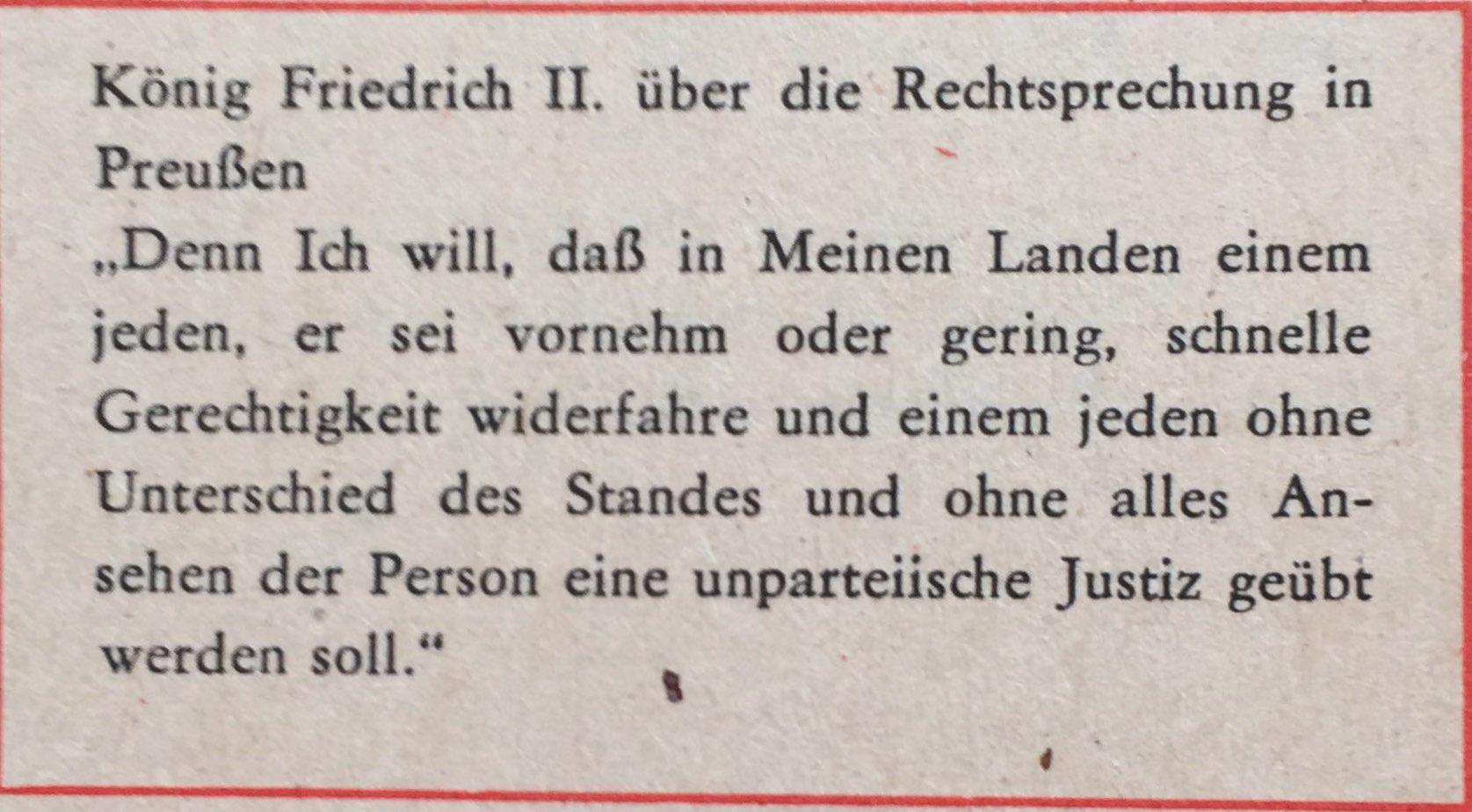 Friedrich II. zu Rechtssprechung in Preußen