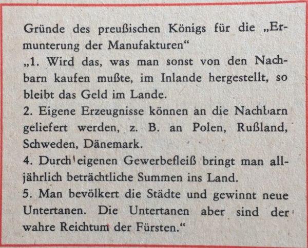 Gründe des preußischen Königs für Ermunterung der Manufakturen
