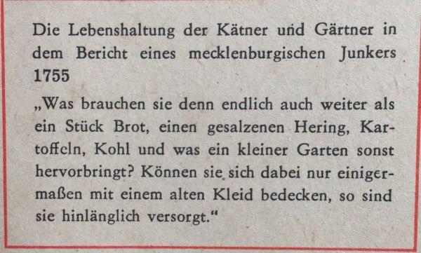 Lebenshaltung der Kätner und Gärtner Bericht eines mecklenburgischen Junkers 1755