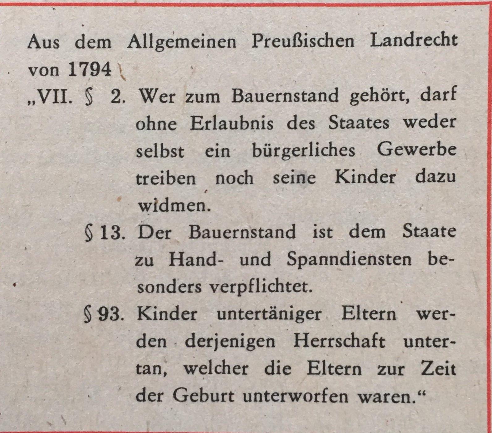 Punkte aus preußischen Landrecht von 1794
