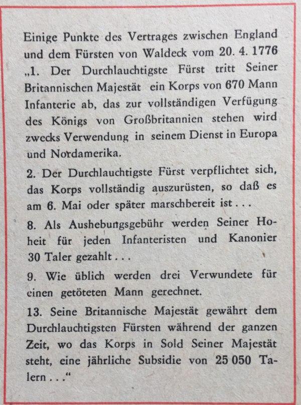 Punkte aus Vertrag zwischen England und Fürst von Waldeck 20.04.1776
