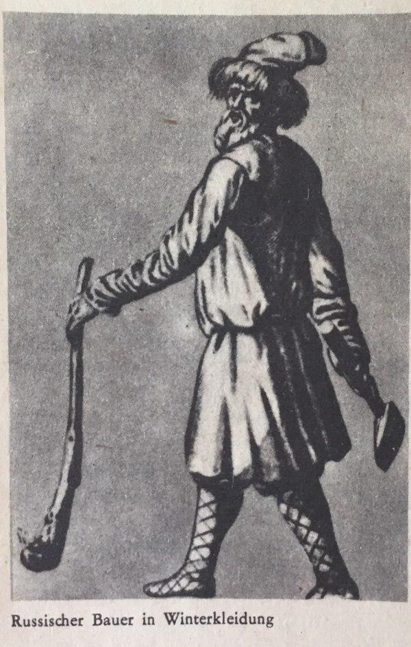 Russischer Bauer in Winterkleidung