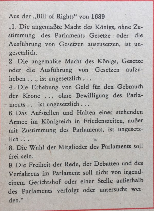 Aus der -Bill of Rights- von 1689