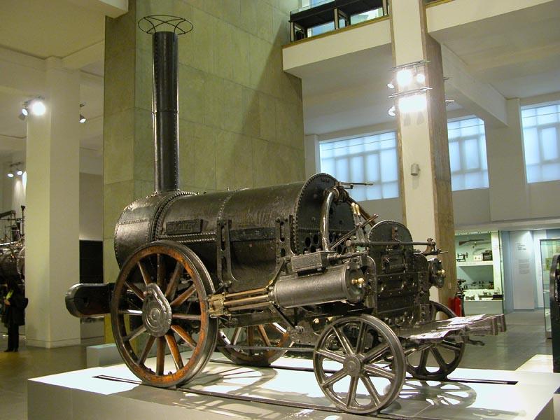 """Lokomotive """"The Rocket"""" von George und Robert Stephenson von 1829 im Londoner Science Museum"""