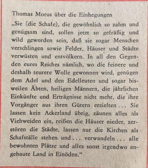 Thomas Morus über die Einhegungen