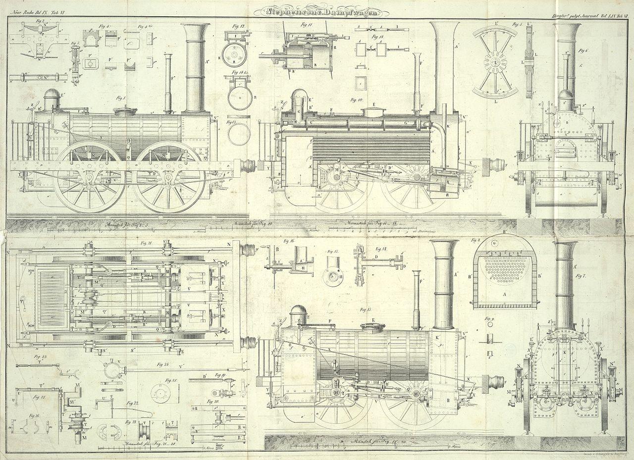 """Zeichnung einer """"Locomotivmaschine des Hrn. R. Stephenson"""" von 1836"""