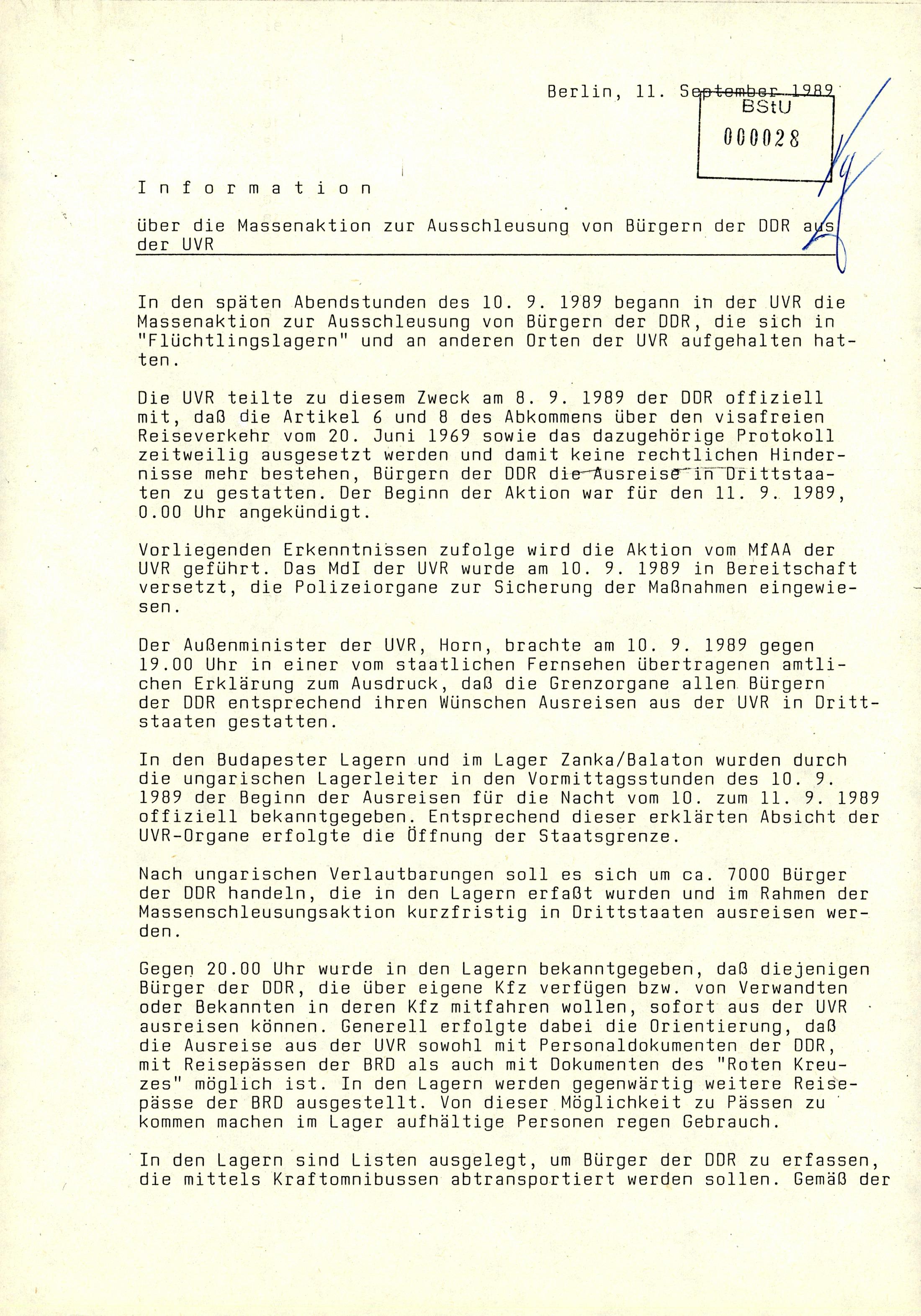 Über die Massenaktion zur Ausschleusung von Bürgerinnen und Bürgern der DDR aus Ungarn