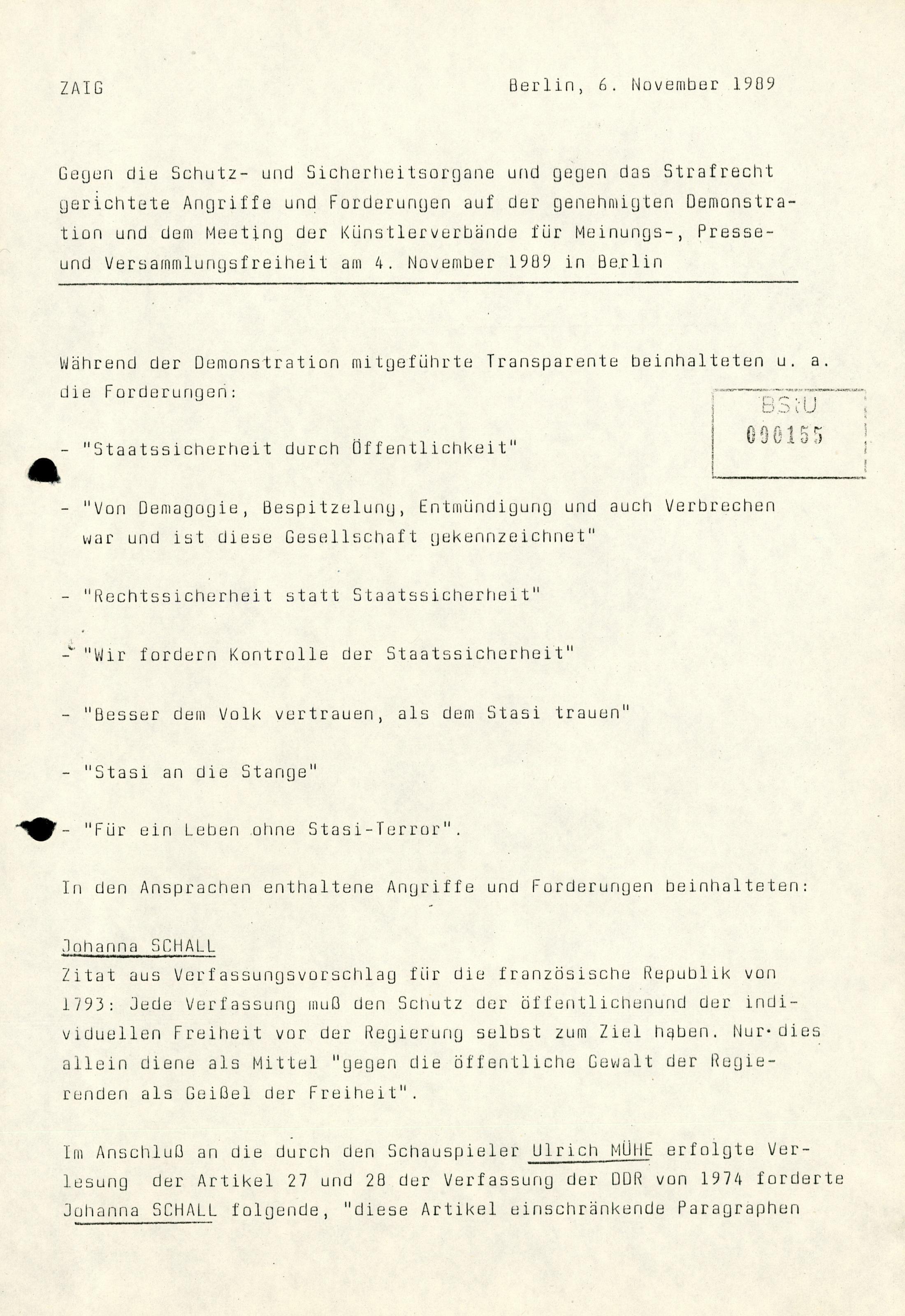 Demo 04.11.1989 in Berlin Redner gegen die Staatsmacht der DDR