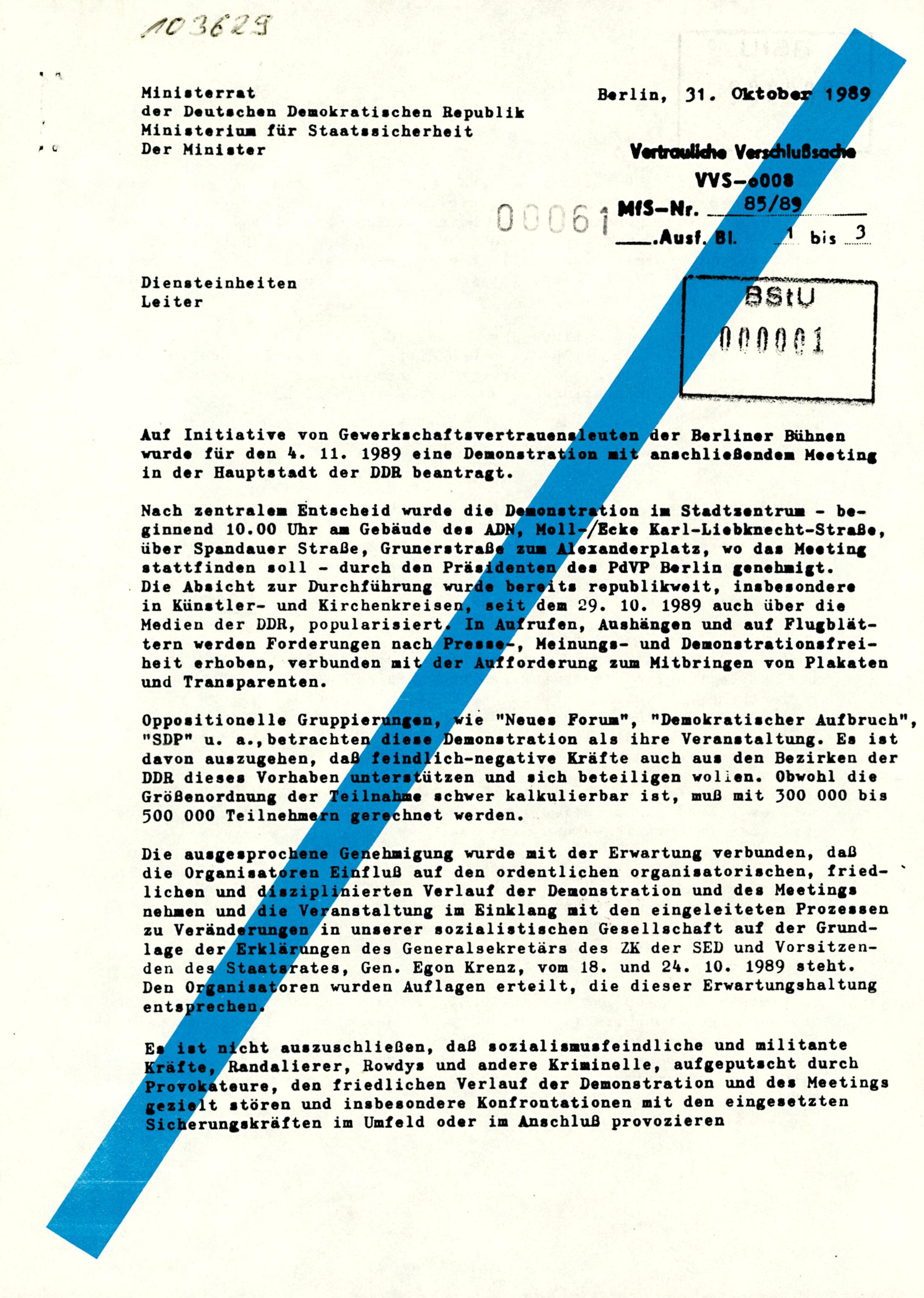 Anweisung von Erich Mielke an die Leiter der Diensteinheiten bezüglich der Demo am 04.11.1989 in Berlin