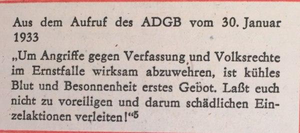 Aus Aufruf ADGB 30.01.1933
