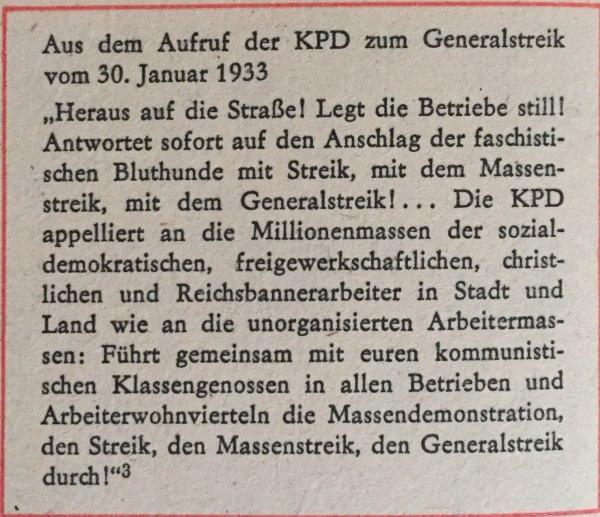 Aus Aufruf der KPD zum Generalstreik 30.01.1933