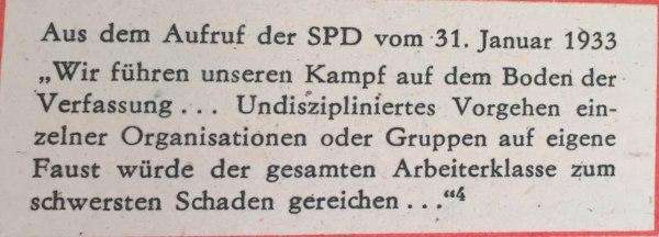 Aus Aufruf SPD 31.01.1933