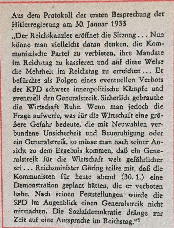 Aus Protokoll Hitlerregierung 30.Januar 1933
