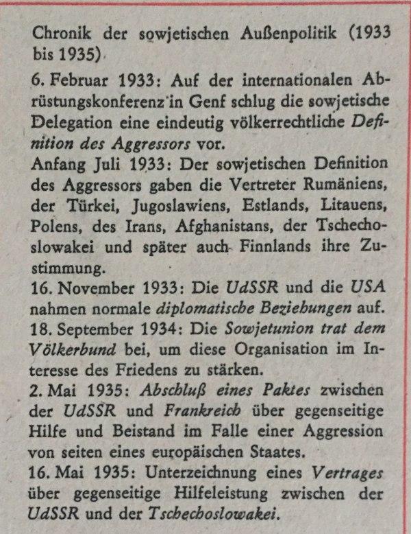 Chronik der sowjetischen Außenpolitik 1933-1935