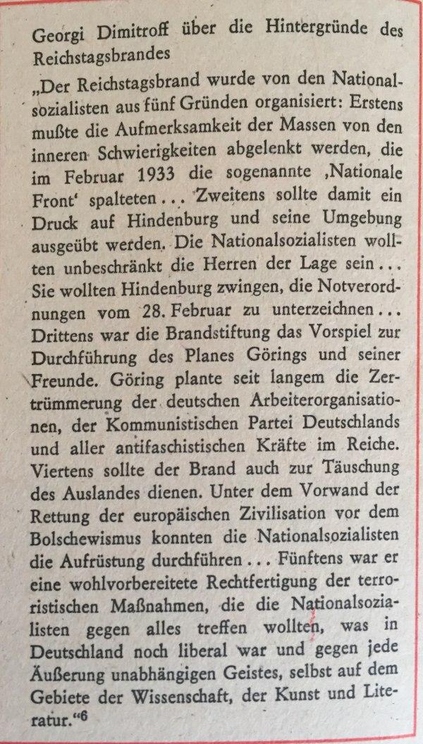Dimitroff zu Hintergründen des Reichstagsbrandes
